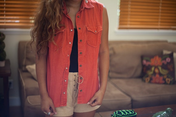 orange rust velour vest