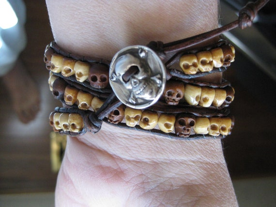 Carved Bone and Wood Skulls 3X Leather Wrap Bracelet - Unisex