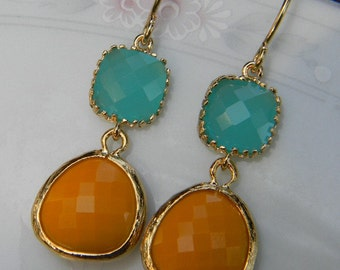 Mustard Yellow and Turquoise Dangle Earrings in Gold -Bride- Bridal- Wedding Jewelry