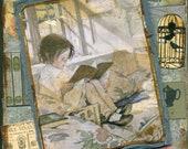 Storytime II - HANDMADE Vintage COLLAGE Greeting Card  (Item 122)