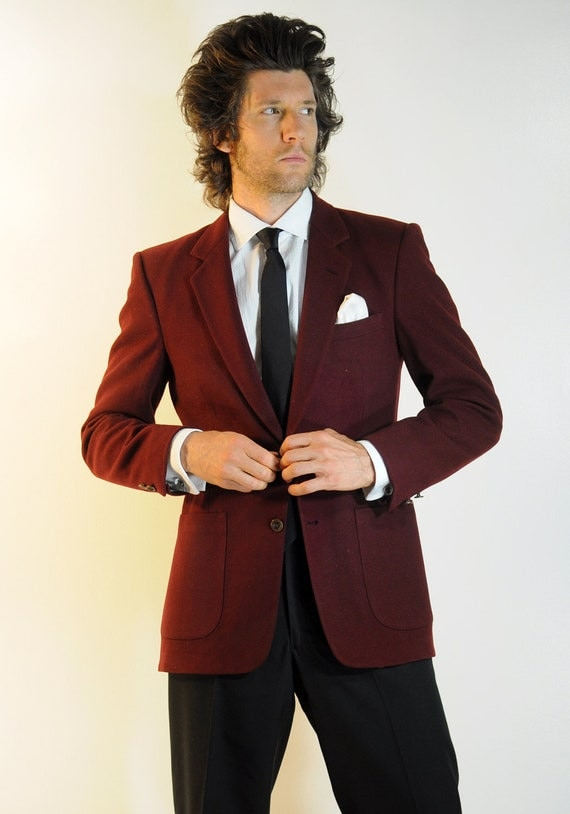 mens maroon suit jacket Nino Cerutti red wine sportcoat