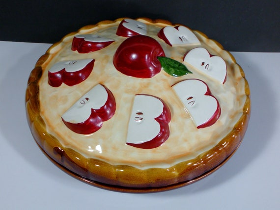 Apple Pie Vintage Pie Keeper Pie Plate Pie Server With Lid Red