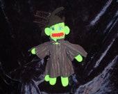 Green Witch Crochet Sock Monkey Doll