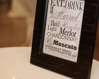 Wedding Reception Bar Menu Sign