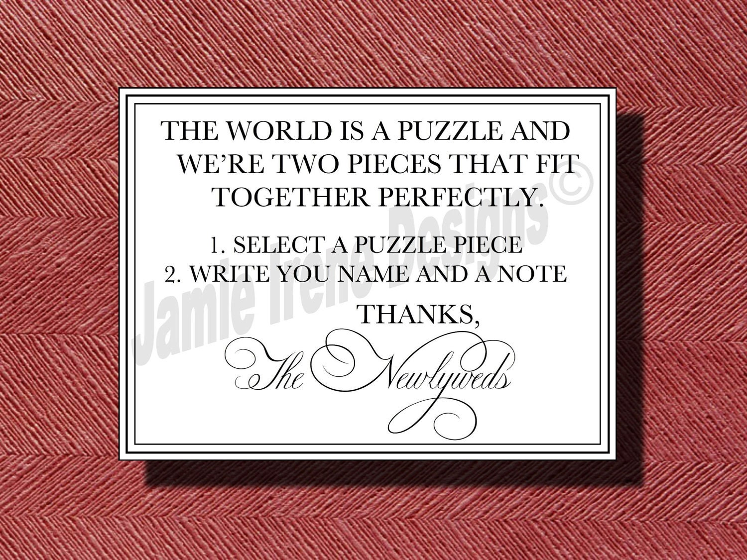 custom designed wedding puzzle piece guest book instructional