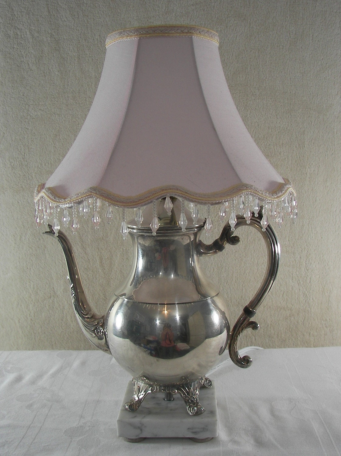 Vintage Silver Plated Teapot Lamp Repurposed Upcycled