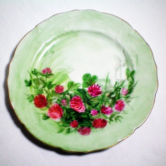 Austrian Hand Painted Clover Blossom Plate - Vintage