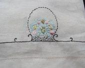 Vintage Embroidered Cotton Linen Tea Bath Kitchen Hand Towel