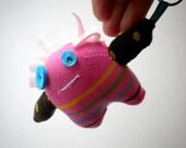 Pink Striped Sock Monster Keychain