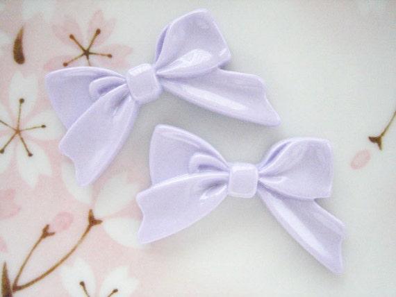 4pcs ((LAST)) Lavender Sweetheart Bow Decoden Cabochon (45x30mm) BW10019