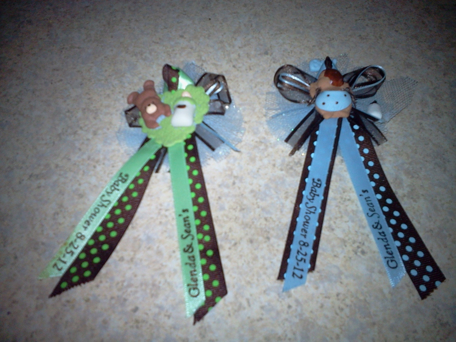 25 custom personalized baby shower corsages and capias pin