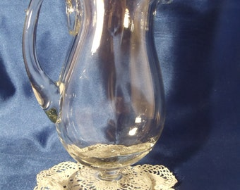 Large Vintage Heavy Clear Glass Pitcher