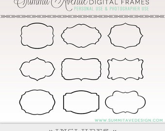 Digital Frames & LABELS digital Clip Art - for photography, scrapbooking and logos Instant Download