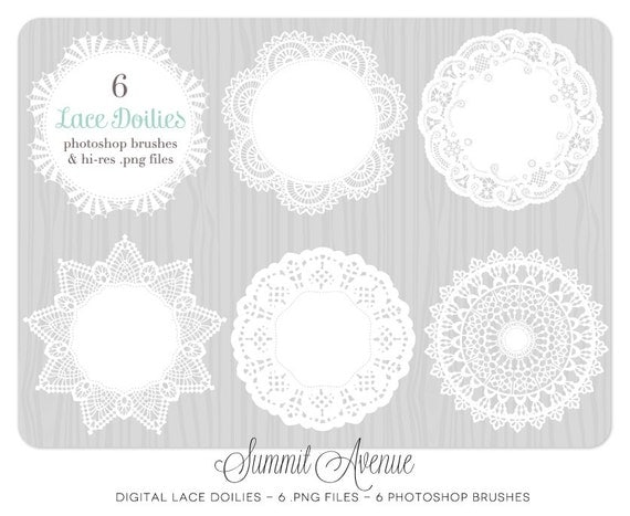 INSTANT DOWNLOAD Digital Lace Doilies - photography or personal use - clip art & Photoshop brushes