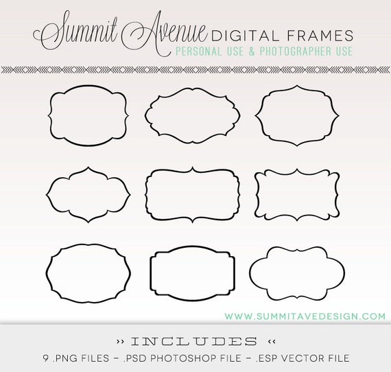 Digital Frames & LABELS digital Clip Art - for photography, scrapbooking and logos Instant Download