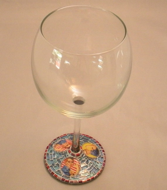 """Rosie The Riveter Mosaic Wine Glass """"AVAILABLE"""""""