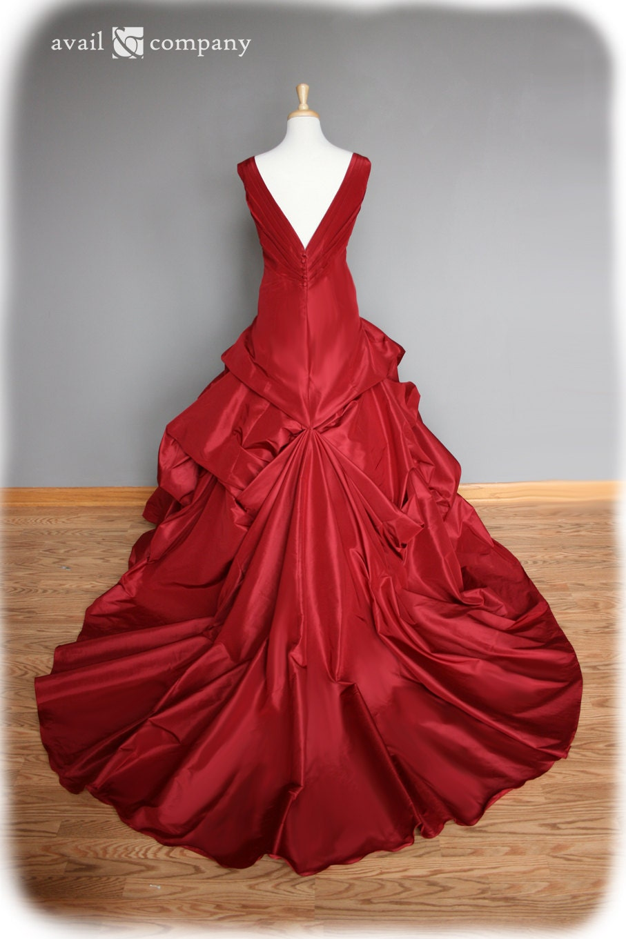 red wedding dress ball gown silk taffeta custom made to by