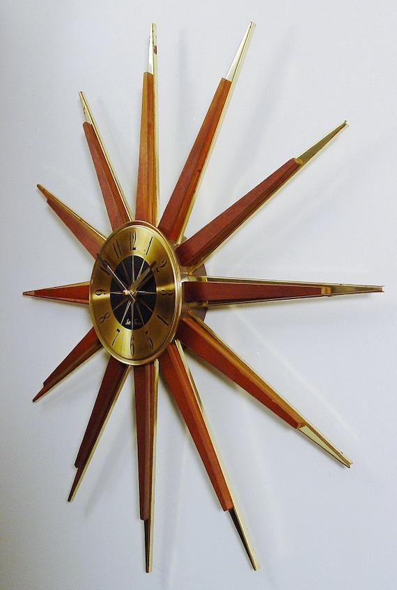Midcentury Modern Starburst Clock, Sunburst Design Atomic Wall Clock, Teak and Brass-tone Rays, Sunburst Design Modern Clock, Mad Men