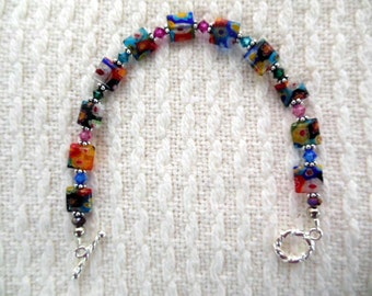 Multi colored Milifiori glass bracelet