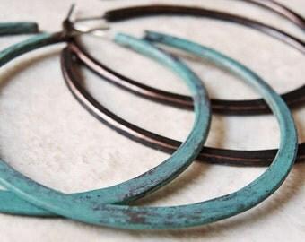 Boho Verdigris Copper Hoops - Hoop Earrings - Organic Weathered Patina - Sterling Silver Posts