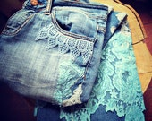 RESERVED shabby chic jeans upcycled womens clothing boho chic eco friendly turquoise lace