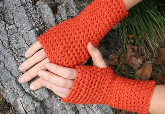 SALE- Orange Fingerless Mittens