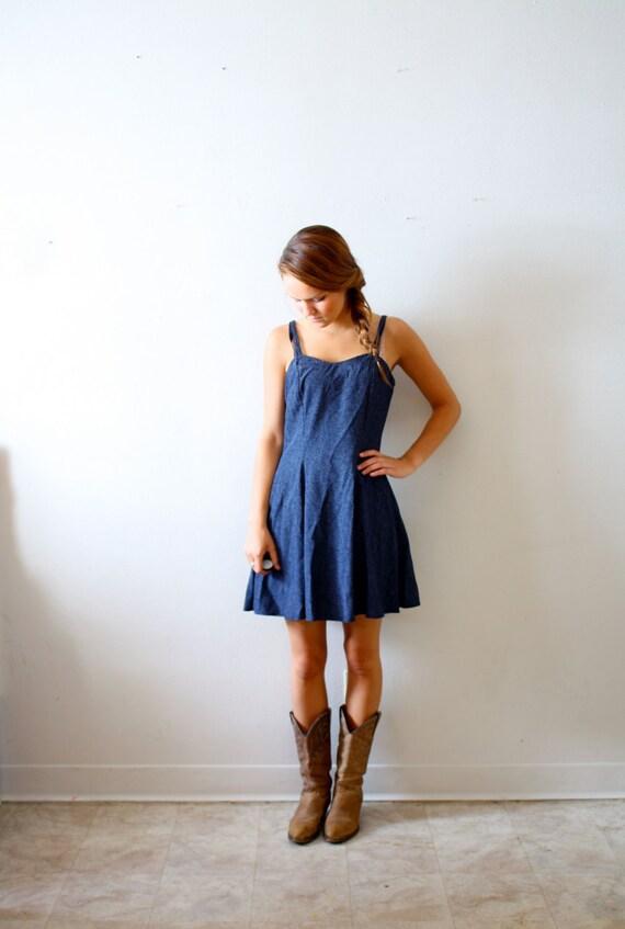 Vintage blue polka dot mini summer dress