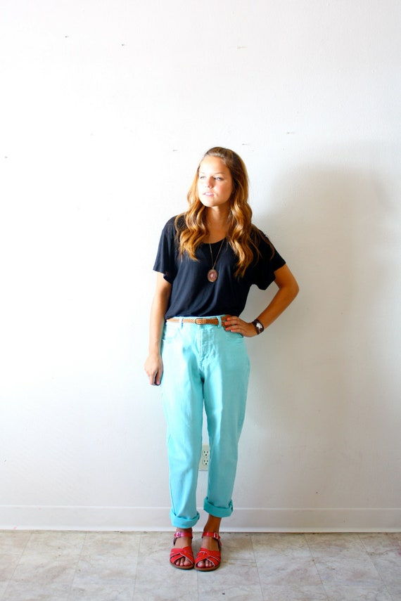 Vintage turquoise high waisted pants