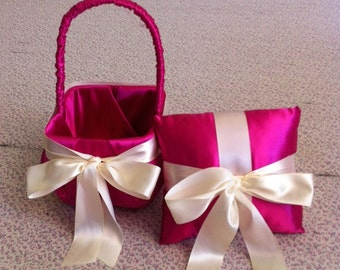 Hot Pink Satin with Ivory  Bow Flower Girl Basket and Ring Bearer pillow
