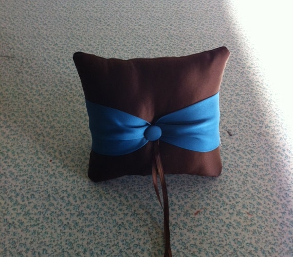 Chocolate Brown with Teal  Accent Button  Ringbearer pillow