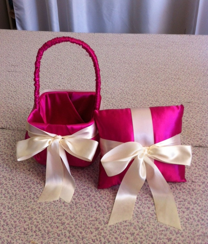 Hot pink flower girl baskets hot pink flower girl basket wedding hot pink flower girl baskets hot pink satin with ivory bow flower girl basket and mightylinksfo Images