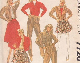 Willi Wear Ltd Designed by WIlli Smith McCalls 7720 Size 10 1981 Jacket Pants and 2 lengths skirt uncut