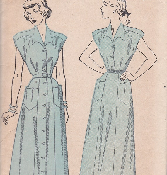 Advance 5024 Size 20 Bust 38 Hip 41 Vintage Day dress sewing pattern with pockets front button from 1940s vintage sewing pattern