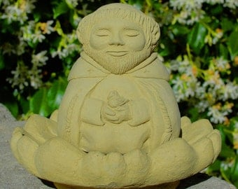 MEDITATING SAINT FRANCIS (Small) Solid Stone Sculpture. Made in the U.S.A. Catholic Religious Buddha Statue for Home Office Gift Garden (O)