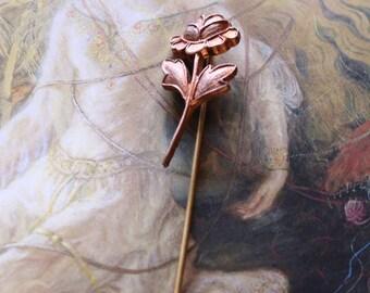 Vintage Brass Deco Rose Stick Pin