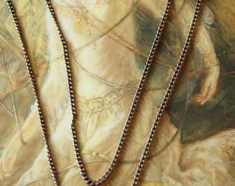 "Delicate OLD Solid Brass Vintage Patina 16"" Link Chain"