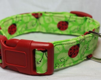 Green & Red Ladybugs Dog Collar Size XS, S, M, L