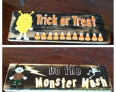 8 Halloween Signs , Monster Paperdolls, Mummy, Frankenstein, Candy Corn, Repurposed Weathered Wood, Kids Halloween Decor, Barn Wood