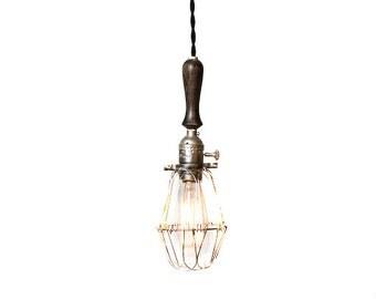 Vintage Farmhouse Wood Handle Economy Caged Trouble Light Pendant ( Silver / Ebony )