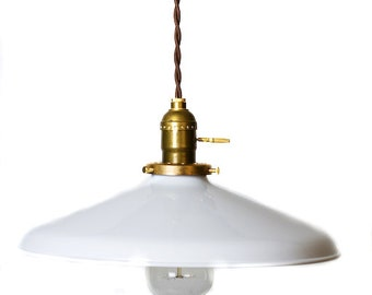 "Industrial Gloss White 12"" Porcelain Enamel Shade Edison Pendant Light ( antique brass or chrome )"