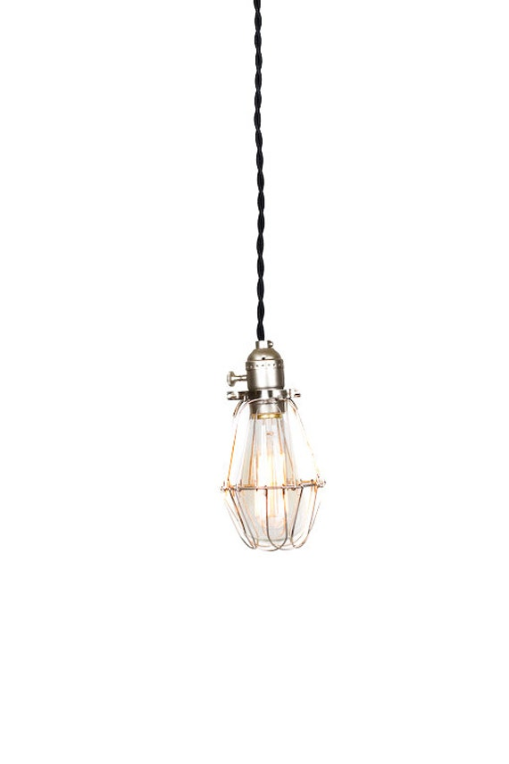 Vintage Industrial Silver Cage Light - Economy Minimalist Bare Bulb Pendant Light