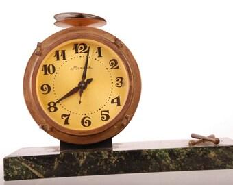 Made in USSR MOLNIJA Vintage Soviet Russian Art Deco Mantel Desk Clock Stone