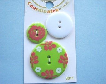 SALE Green Floral Coordinates Sewing Buttons SALE