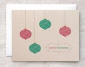 Christmas Card Set of 10 - Scandinavian Inspired Merry Christmas Ornaments Unique Holiday Cards - Red, Green, Brown Recycled Cards