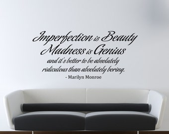 Marilyn Monroe Wall Decal Vinyl Imperfection is Beauty Quote Living Room - Bedroom Decor - Wall Decor - WD0175