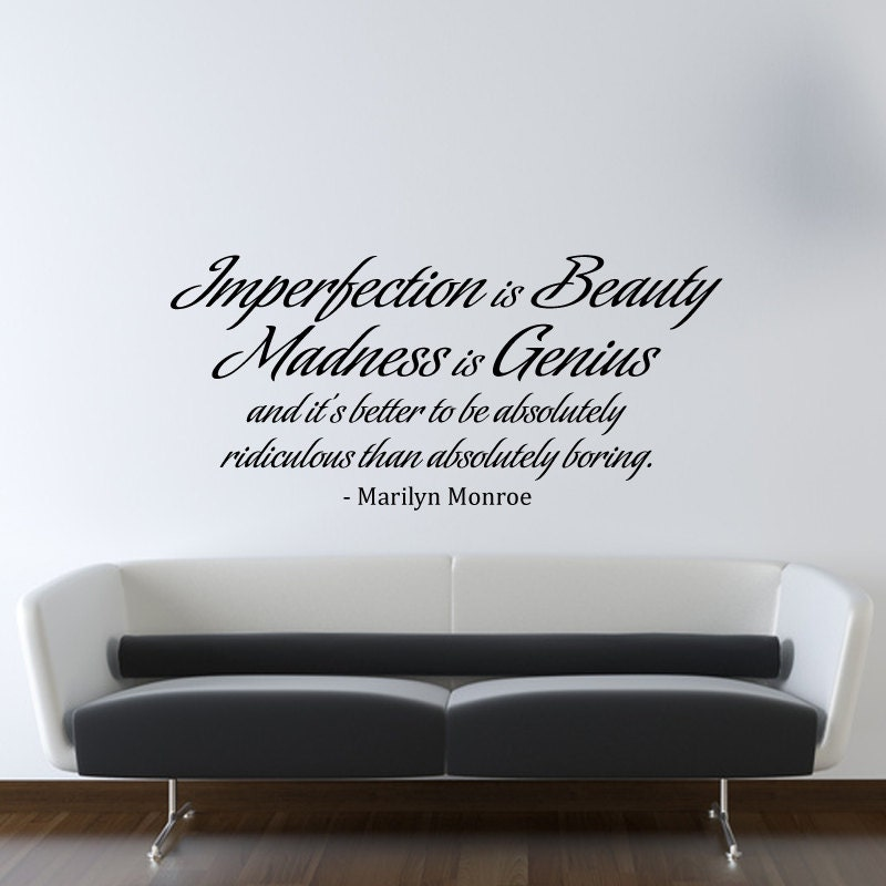 Marilyn Monroe Wall Decal Vinyl Imperfection is Beauty Quote