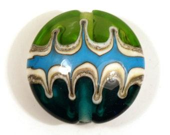 Handmade Lampwork Focal Bead - Medailon