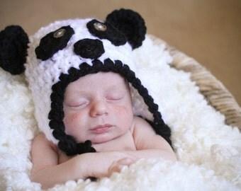 Baby Panda Bear Hat--Soft & Cozy Newborn Photo Prop or Halloween Costume