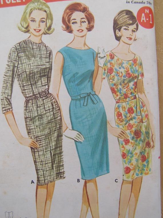 1960s Butterick Sheath Dress with Tie Belt Sewing Pattern 2952, 3 Styles,  Size 20, Bust 40, Uncut