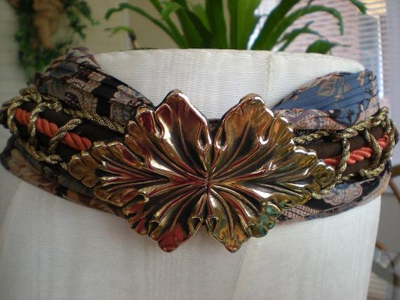 Woodland Fairy, Cloth Belt with a Brass Leaf Buckle, Boutique Statement Piece